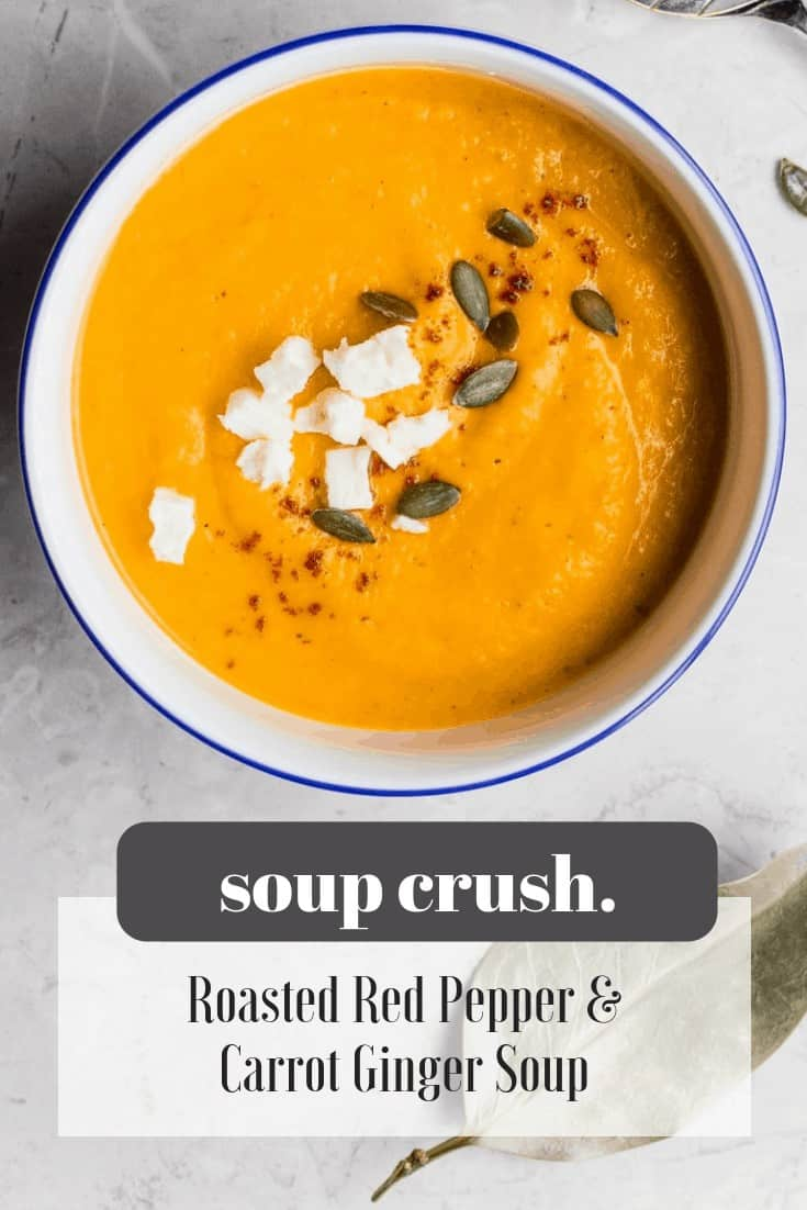 This roasted red pepper soup is so simple and GOOD! Restaurant quality but super healthy, too.