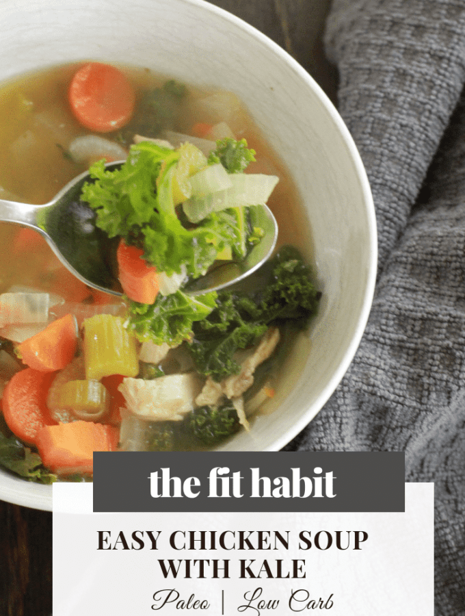 simple and quick, chicken soup with kale