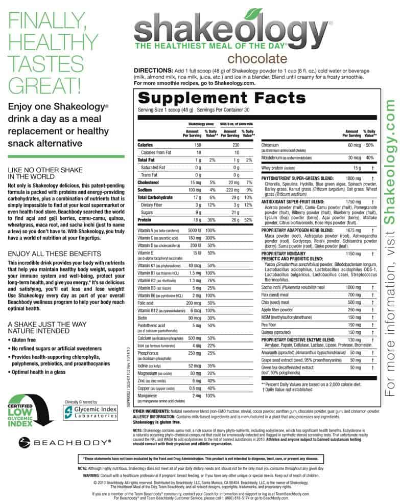 shakeology nutrition label with ingredient list of pure superfoods