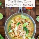 thai shrimp curry in a pan
