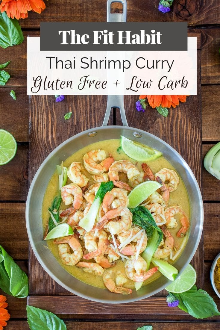 thai shrimp curry in a pan