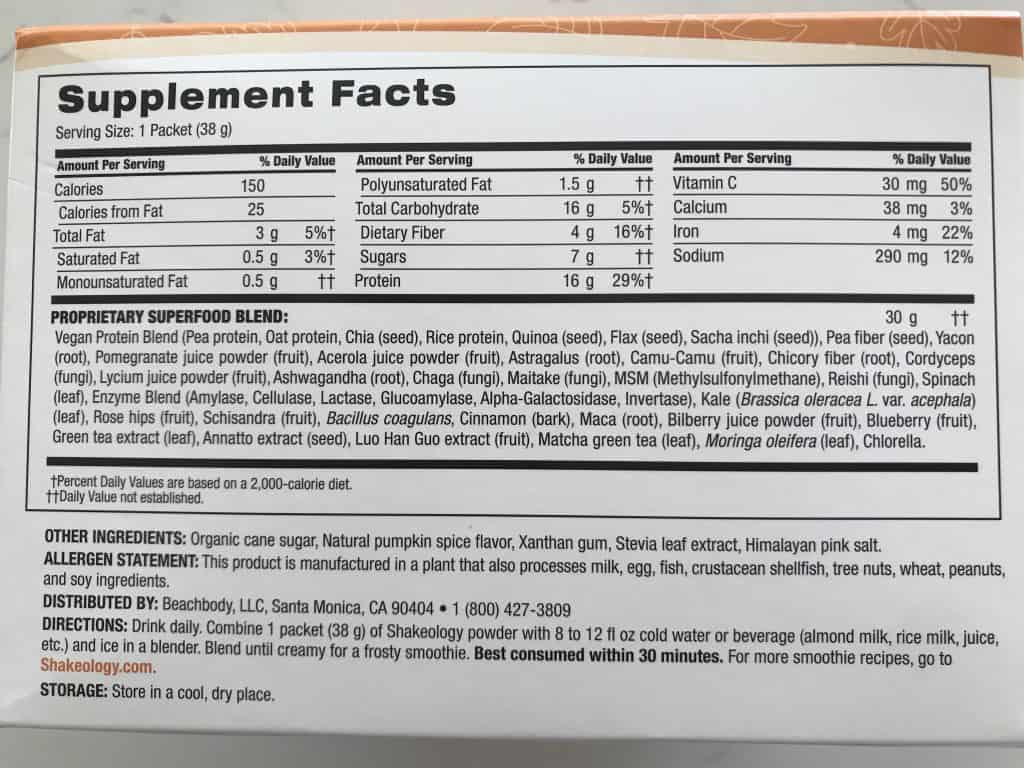 pumpkin spice shakeology calories and nutrition label
