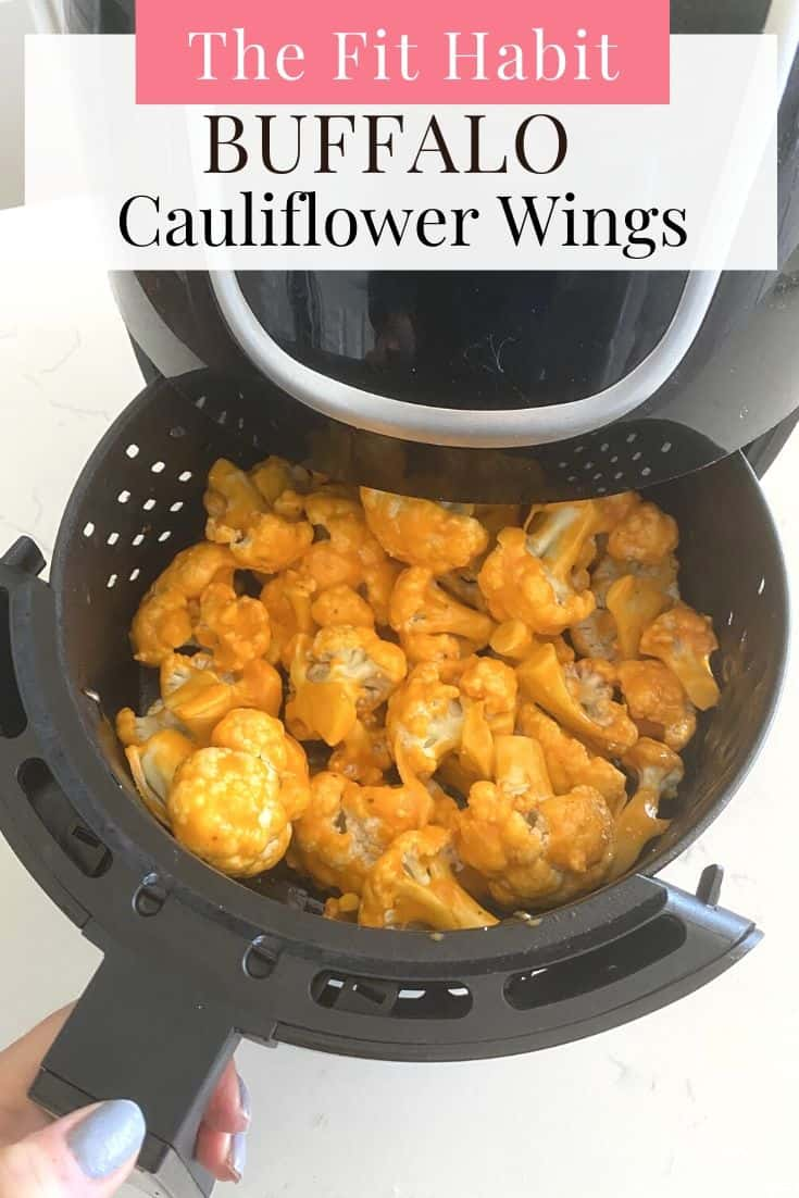"Buffalo cauliflower ""wings"" are super easy to make in the air fryer, ready in less than 15 minutes and a much healthier option than traditional wings! Whether you've recently invested in an air fryer, or you're a seasoned pro, you're going to love this family favorite because it's the perfect vegetable side dish that everyone will want to eat. Perfect for low carb, low calorie, keto and gluten free diets. Also Ultimate Fix Recipe Approved!"