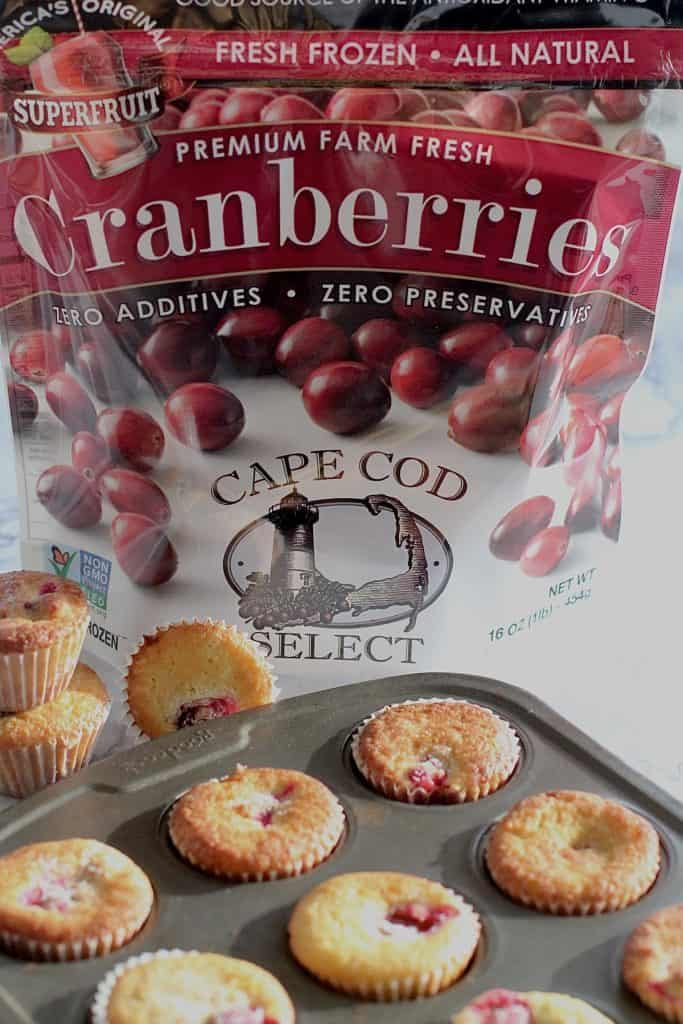 cranberry orange muffins with bag of frozen cranberries
